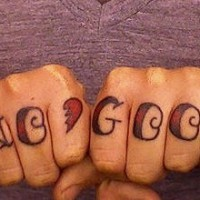 Knuckle tattoo picture, no good, with wings