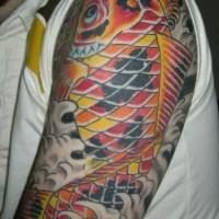 Large colourful koi tattoo