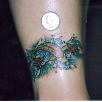 Small koi fish armband tattoo