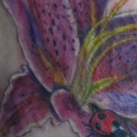 Marienkäfer an detaillierter Blume Tattoo