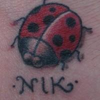 Marienkäfer namens Nik Tattoo
