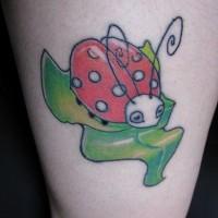 Großer Marienkäfer auf Blatt farbiges Tattoo
