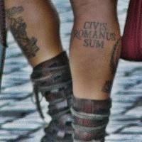 Civis romanus sum leg tattoo