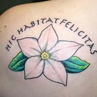 Hic habitat felicitas flower tattoo