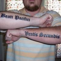Beati pacifici ventis secundis arms tattoo