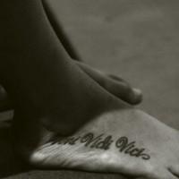 Veni vidi vici tattoo on foot