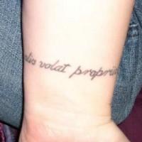 Alis volat propriis wrist tattoo