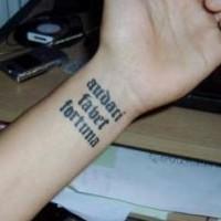 Audaci favet fortuna wrist tattoo