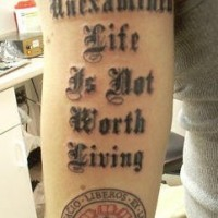 Latin liberos motto tattoo
