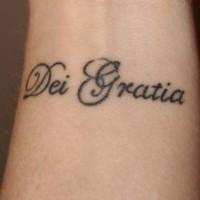 Dei gratia wrist tattoo