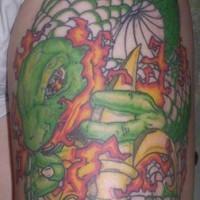 Leg tattoo, green big snake, fireing with gun