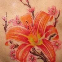 Orange lily and sakura blossom tattoo