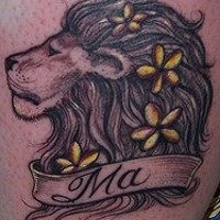 Lion with flowers in mane  tattoo