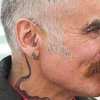 3d lizard tattoo on head