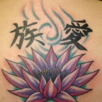 Lotus flower and chinese hieroglyphs tattoo