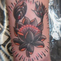 Black lotus blossom classic tattoo