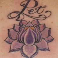 Purple lotus with name tattoo