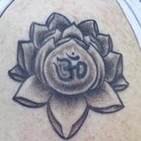 Black hindu lotus tattoo