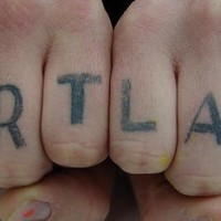Love knuckle tattoo, portland with heart