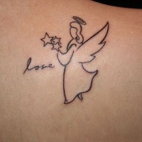 Love word and angel tattoo