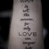 Love and war text tattoo