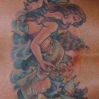 Lower back tattoo, lying , dreamful mermaid in stormy water