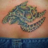 Lower back sea turtle tattoo