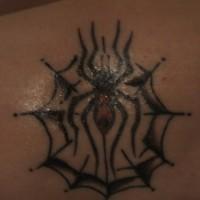 Lower back tattoo, big, black  spider in web
