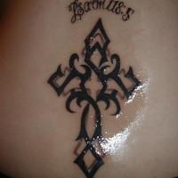 Lower back tattoo, psalm 118:5, styled cross