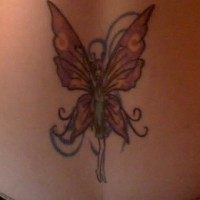 Lower back tattoo, slim, tall, dancing fairy