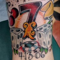 Lucky number seven coloured tattoo