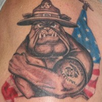 Angry bulldog soldier tattoo