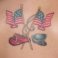 Usa flag with fd and pd hats tattoo