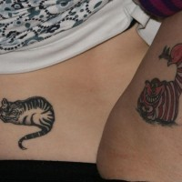 Matching friendship cat tattoos