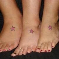Matching star tattoo for three friends