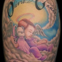 Cute child with toy on cloud tattoo in colour