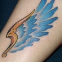 Nice colorful one wing tattoo