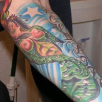 Mythical mermaid beast colourful sleeve tattoo