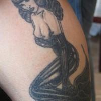 Vamp lady mermaid tattoo
