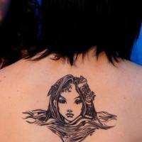 Mermaid head from water tattoo on back