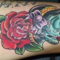 Female sugar skull with rose tattoo