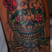 Mexican sugar skull coloured tattoo