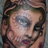 Dia de muertos style girl tattoo