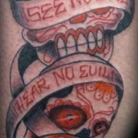 Three monkeys sugar skulls tattoo