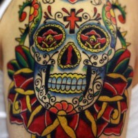 Crystal sugar skull with roses tattoo