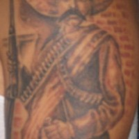 Mexican with gun in sombrero tattoo