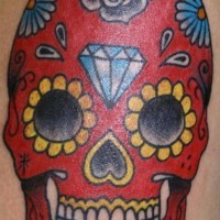 Red sugar skull with diamond tattoo