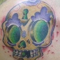 Dia de muertos skull with key hole tattoo