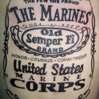 Marine corps lettering army tattoo