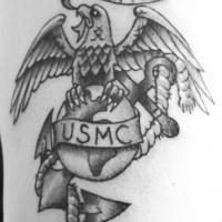 Usmc symbol with motto black ink tattoo